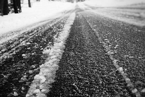 Roads covered in ice and snow.