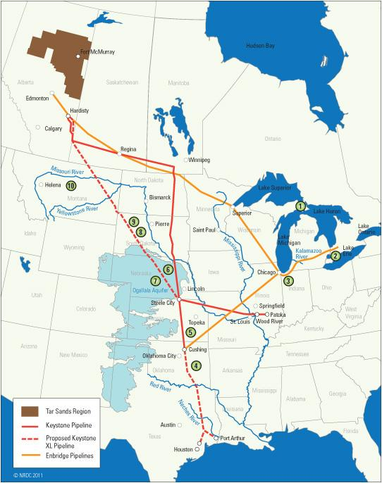 A map of oil pipelines carrying tar sands in the U.S. and Canada
