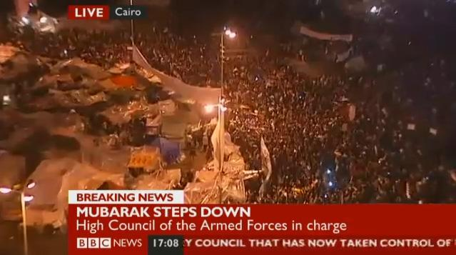"From the BBC's live coverage of celebrations in Egypt's Tahrir Square. BBC correspondent says Mubarak's resignation has turned the ""whole of the Middle East upside down."""