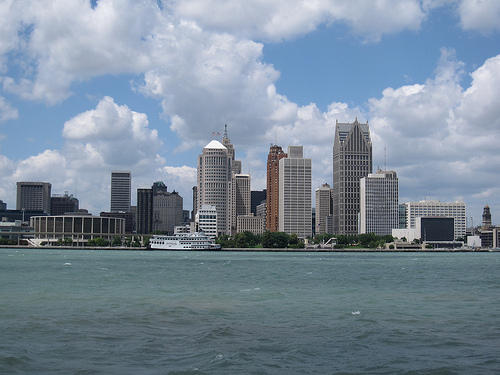 Detroit skyline seen from Windsor, Ontario, across the Detroit River.
