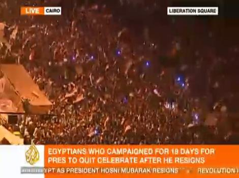 A live shot of Liberation Square in Egypt from Al Jazeera