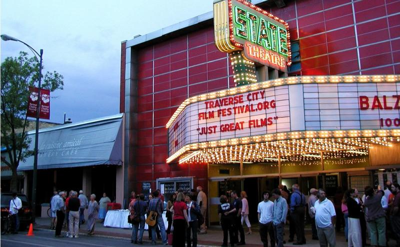 People wait for tickets during Traverse City's film festival.