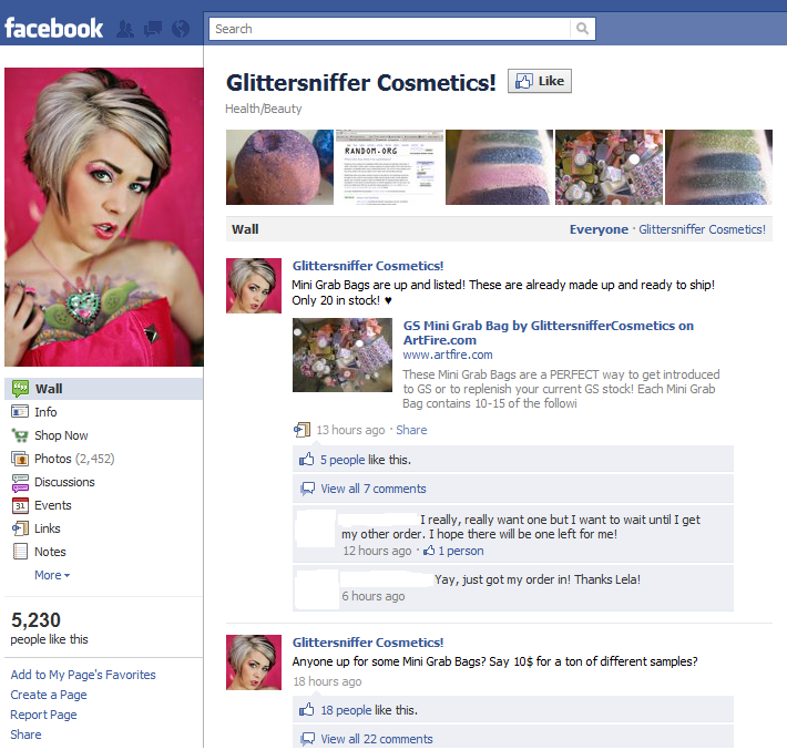 Thousands of women follow Glittersniffer on Facebook