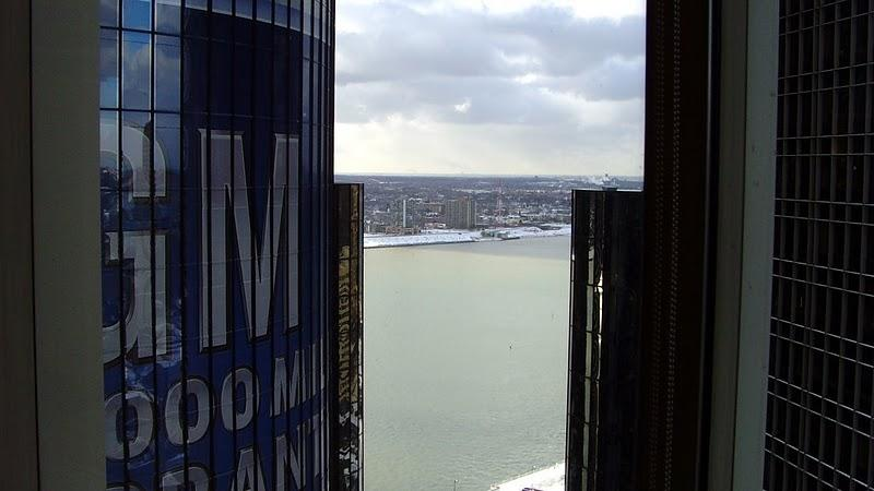 A view from the General Motors headquaters in Detroit.