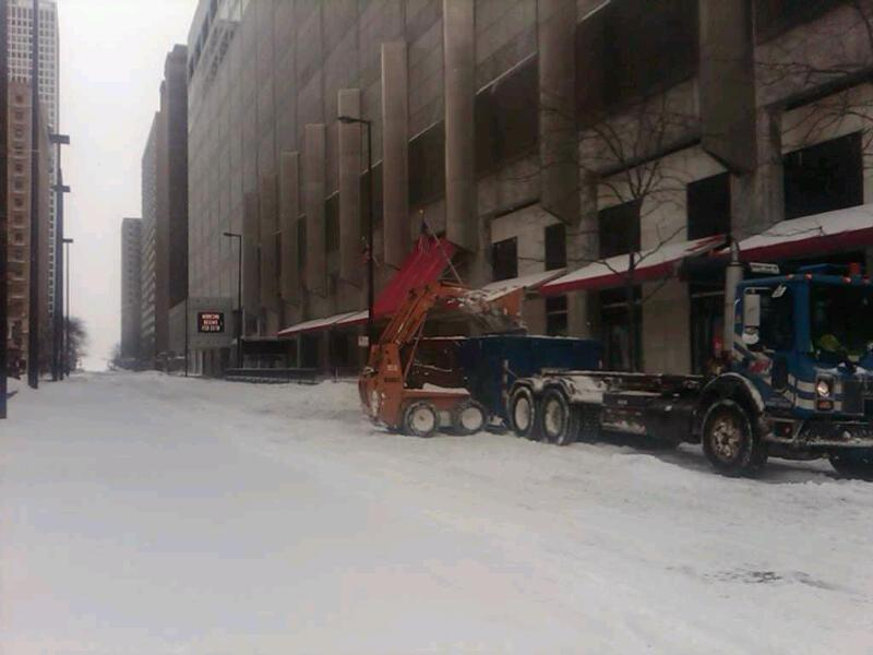 Cleaning up after the snowstorm in Chicago