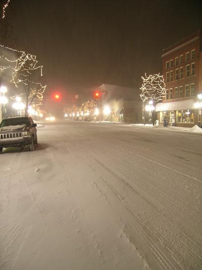 Downtown Tecumseh as the snow begins.