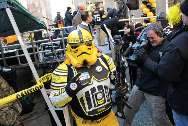 A storm trooper prepares to take the stage at a downtown Pittsburgh Super Bowl XLV rally