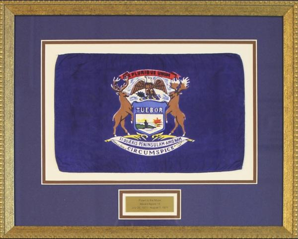 8 by 12 inch state of Michigan flag that flew to the moon and back on Apollo 15 in 1971