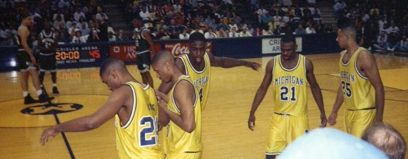 The Fab Five - From left to right, Jimmy King, Jalen Rose, Chris Webber, Ray Jackson, Juwan Howard.