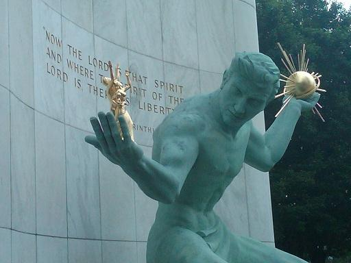 The 'Spirit of Detroit' rests outside the Coleman A. Young municipal building in downtown Detroit, Michigan