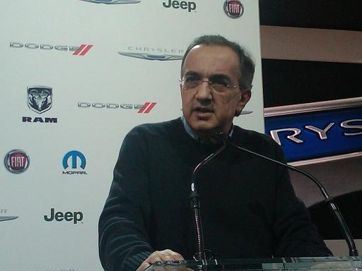 Fiat/Chrysler CEO Sergio Marchionne speaking at the North American International Auto Show in Detroit in January 2011