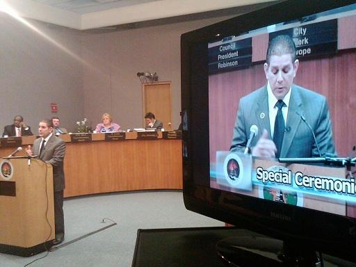 Lansing mayor Virg  Bernero delivers his budget address during a meeting of the city council