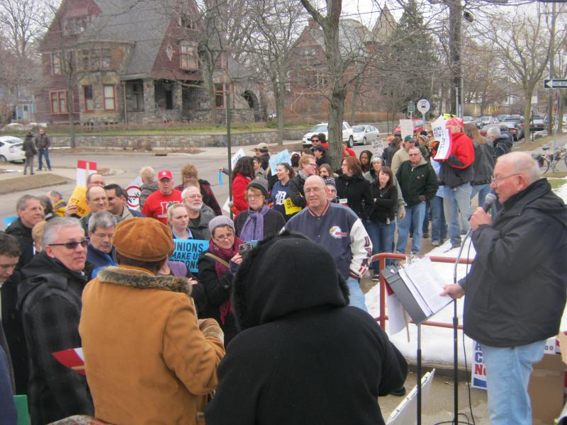 A crowd gathers in a Grand Rapids neighborhood to protest Governor Snyder's budget plan earlier this month.