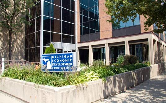 The Michigan Economic Development Corporation headquarters in Lansing. MEDC staff serve the MEGA Board and administer activities and programs.