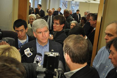 Governor Rick Snyder answering questions from the media