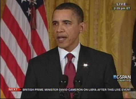 President Obama gives a statement on the situation in Libya