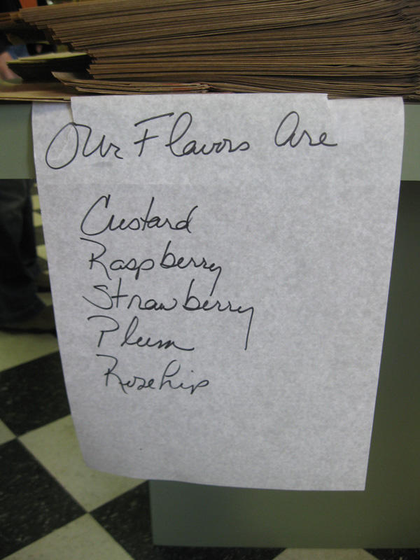 "The paczki flavors offered at Copernicus European Delicatessen in Ann Arbor. ""Rosehip"" - gotta try one of those."