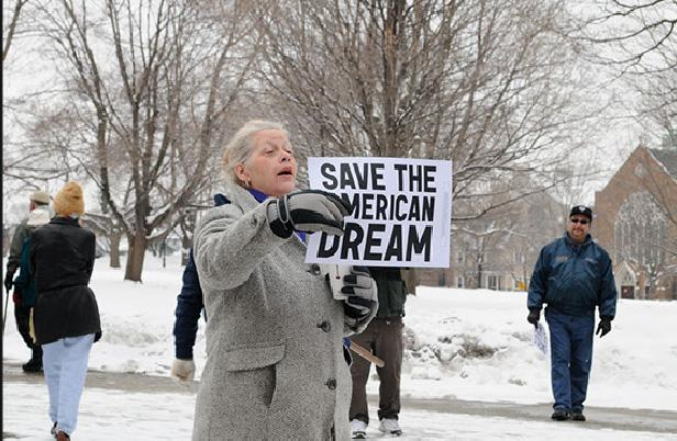 A protester at Saturday's MEA-sponsored rally in Lansing