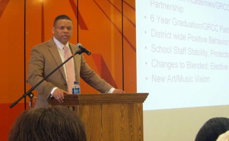 "GRPS Superintendent Dr. Bernard Taylor Jr. apeaks to about 100 people during his 4th annual ""State of Our schools"" address."