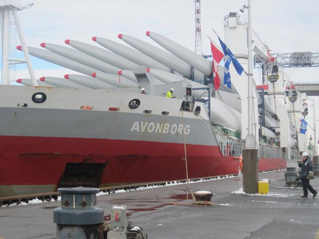 The Dutch-flagged, Dane-piloted Avonborg was carrying 75 wind turbine blades to Burns Harbor, Indiana, on Lake Michigan, on the opening day of the St. Lawrence Seaway.