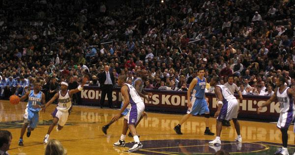 Earl Boykins with the ball when he played for the Denver Nuggets. He now plays for the Milwaukee Bucks.