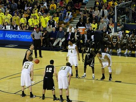 The University of Michigan basketball team plays Bryant, December, 2010