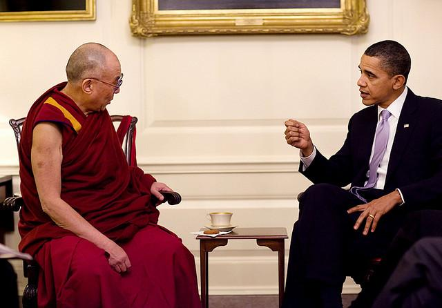The Dalai Lama meets with President Obama in 2010.