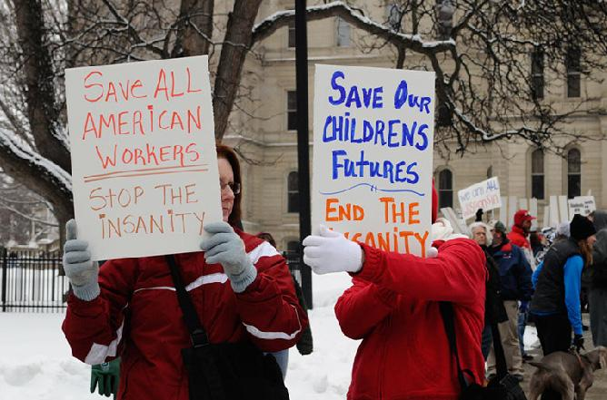Teachers protest in Lansing on February 26th, 2011.