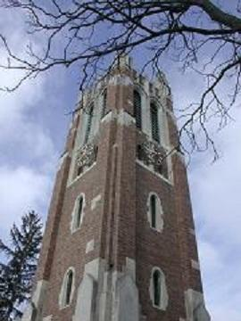 The bell tower on the Michigan State University campus in East Lansing