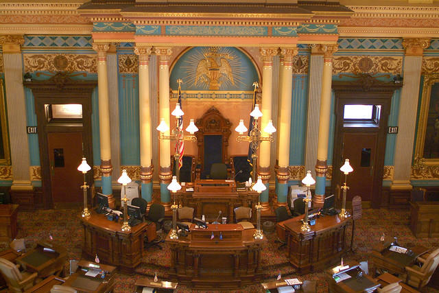 The Michigan Senate chamber