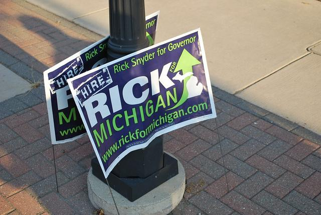 "Rick Snyder campaigned on ""reinventing"" Michigan."