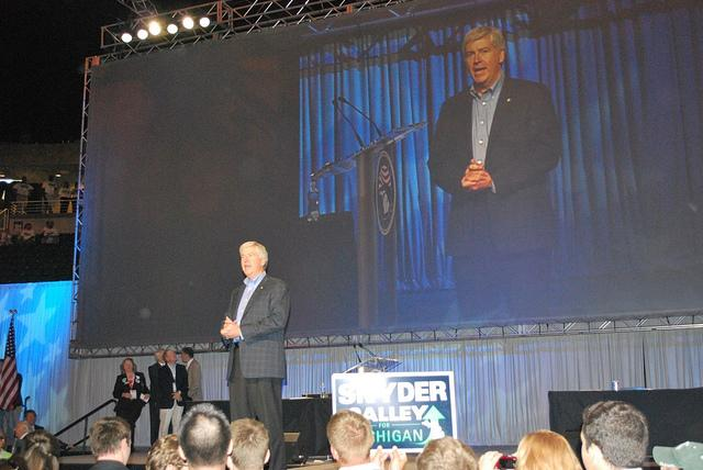Rick Snyder campaigns last year. Now, Governor Rick Snyder is having to campaign for his budget proposals.