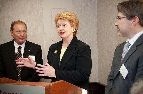 Senator Debbie Stabenow (center) is cosponsording legislation that will prevent members of Congress and the President from being paid if the government shuts down.