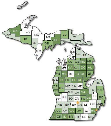 This map shows healthier counties in white, unhealthier counties in green.