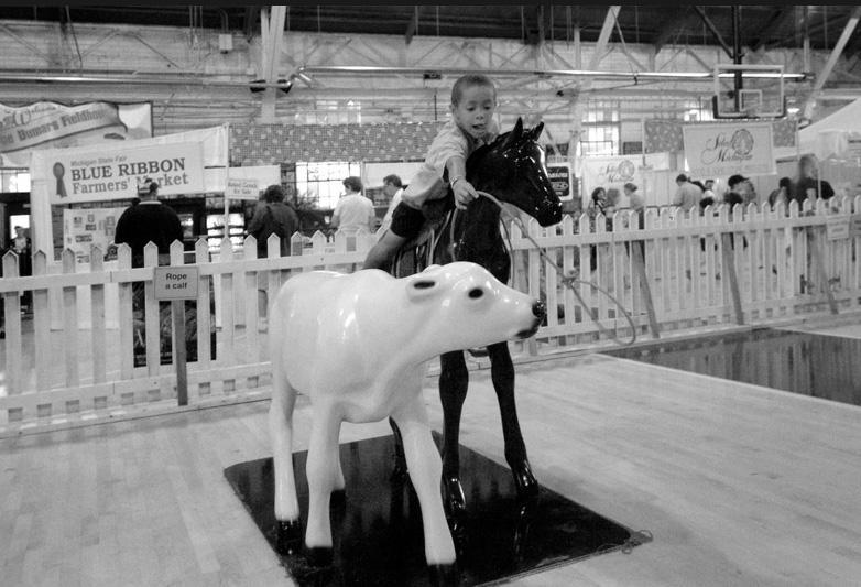 Boy roping a plastic calf at the 2008 Michigan State Fair
