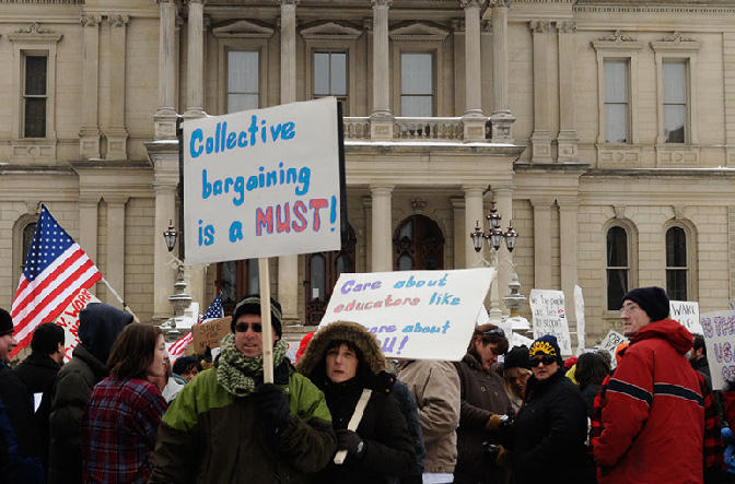 Teachers protest in Lansing.