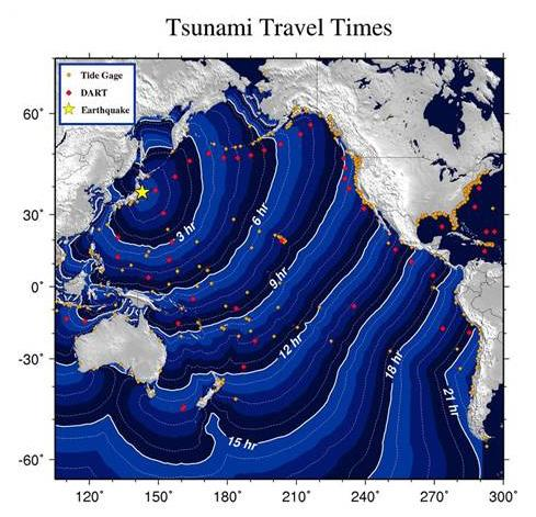 Tsunami travel times map from NOAA