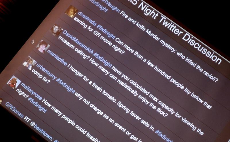 5x5 night's twitter feed is projected so the audience (everywhere) can ask questions.