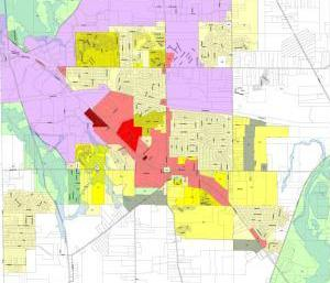 "Part of Streetsboro, Ohio's current zoning map - separate colors for separate uses. The city is working on doing away with these blocks of color, and trying to mix more uses - a method called ""form-based"" code."