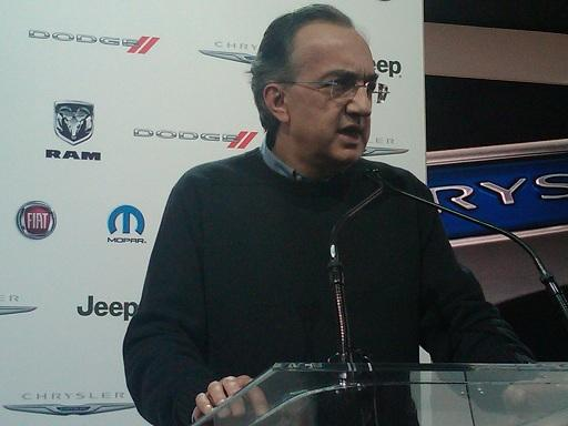 Fiat CEO Sergio Marchionne talks to reporters at January's North American Intl Auto Show in Detroit