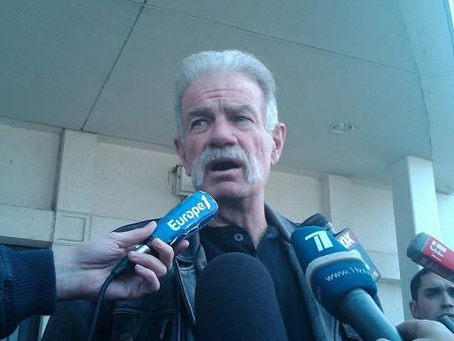 Pastor Terry Jones talks to the news media outside the 19th District Court in Dearborn, Michigan