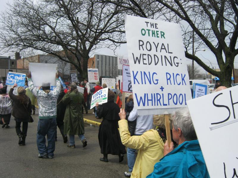People rally this week in Benton Harbor against the city's emergency manager and Gov. Rick Snyder.