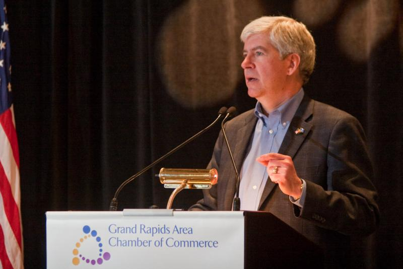 """Governor Rick Snyder on the protests against his plans: """"I got the response I expected, there's no surprise here."""""""