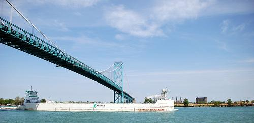 A view of the Ambassador Bridge that spans the Detroit River