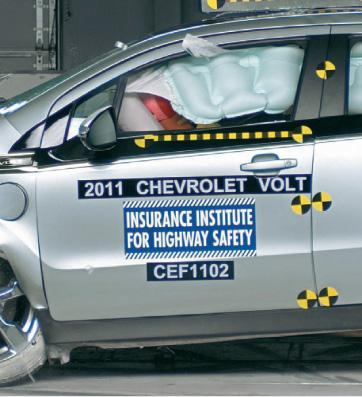 A Chevy Volt being crash tested. The big batteries in the car make them safter according to the Insurance Institute for Highway Safety.