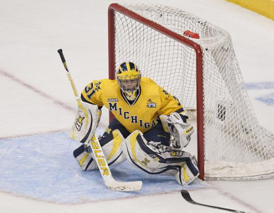 Shawn Hunwick in the goal during the NCAA championship