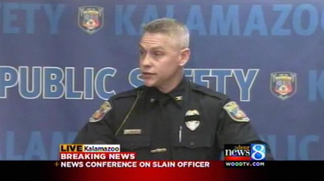 Kalamazoo Department of Public Safety Chief Jeff Hadley addresses the media