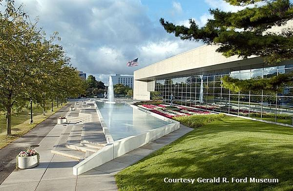 Exterior view of the Gerald R. Ford presidential museum in Grand Rapids, Michigan
