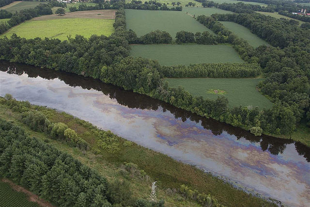 The Kalamazoo River a few days after the oil spill last July.