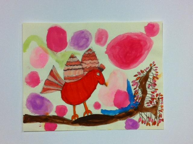 This painting, by an 8 year-old girl, will be for sale, along with art from professional artists